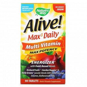 Nature's Way, Alive! Max3 Daily, мультивитаминный комплекс, без добавления железа, 90 таблеток