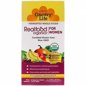 Country Life, Realfood Organics, For Women, 120 Easy to Swallow Tablets