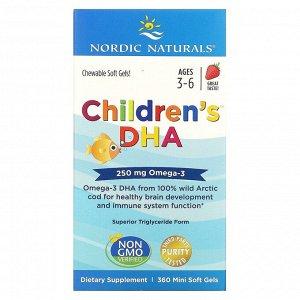Nordic Naturals, Для детей, ДГК, клубника, 360 мягких мини-таблеток