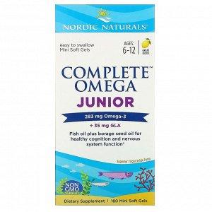 Nordic Naturals, Complete Omega Junior, Lemon, Ages 6-12, 180 Mini Soft Gels