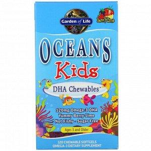 Garden of Life, Oceans Kids, DHA Chewables, от 3 лет и старше, вкус ягод и лайма, 120 жевательных мягких таблеток