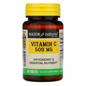 Витамин C Mason Natural, Витамин C, 500 мг, 100 таблеток Продукт прошел лабораторные испытания Сертификат соответствия стандартам cGMP Антиоксиданты и незаменимые питательные вещества Биологически акт
