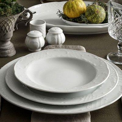 Сковороды чугунные, жаровни, сковороды для подачи — Фарфор Премиум КНР, белый оттенок — Тарелки