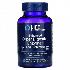 Life Extension, усовершенствованная суперсмесь пищеварительных ферментов и пробиотиков, 60 вегетарианских капсул