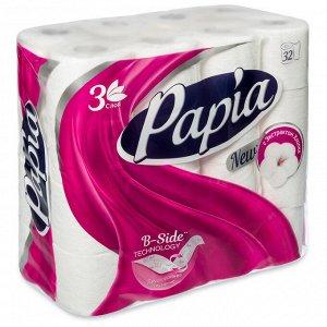 "Т/бумага ""Papia"" белая 3 слоя, 32шт"