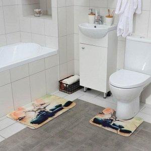 Набор ковриков для ванны и туалета «Морская звезда», 2 шт: 45?70, 39?45 см