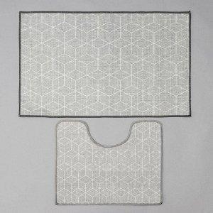 Набор ковриков для ванной и туалета Доляна «Адеолла», 2 шт: 50?78 см, 40?50 см