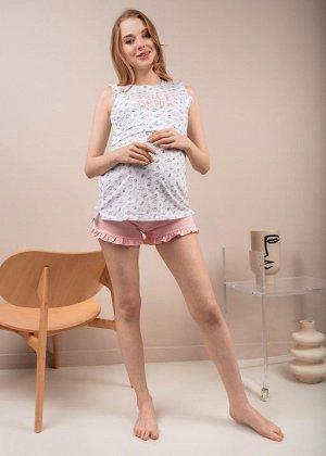 """Пижама (майка, шорты) для беременных и кормления """"Лия""""; пудровый"""