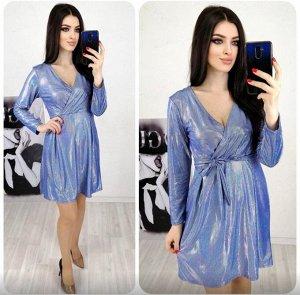 """Платье 5005 """"Верх На Запах-Блестящее"""" Синее"""