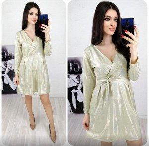 """Платье 5005 """"Верх На Запах-Блестящее"""" Золотое"""