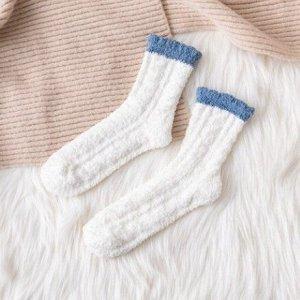 Махровые Носочки,белые с синим