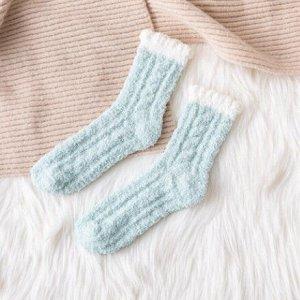 Махровые Носочки,мятные с белым