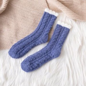 Махровые Носочки,синие с белым