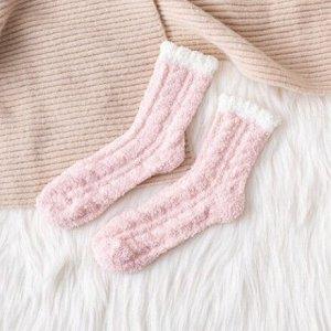 Махровые Носочки,бледнорозовые с белым