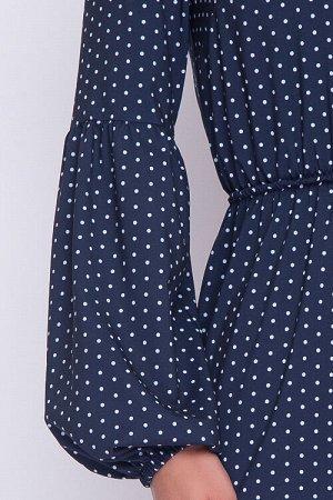 Платье Платье из текстильного полотна в горошек прямого силуэта.По талии резина.Рукав втачной с подрезом и сборкой по линии локтя. 30% вискоза 65% п/э,5% эластан