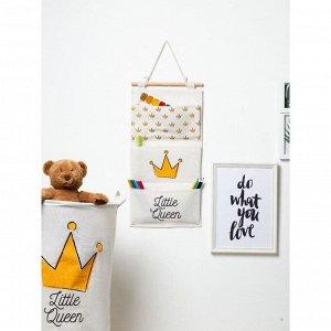 """Кармашек текстильный Этель """"Little queen"""", 3 отделения, 26х50 см, водонепроницаемый"""