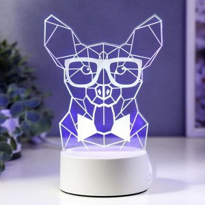 "Светильник ""Собака в очках"" LED RGB от сети 9.5х13х19 см"