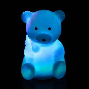 """Световой сувенир """"Мишка с бантиком"""" светится разными цветами 7х5х5 см"""