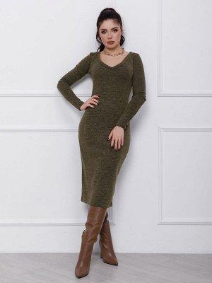 Ангоровое прямое платье цвета хаки