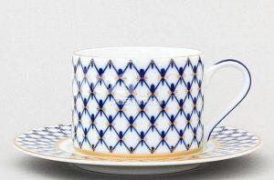 Чашка с блюдцем чайная ф. Соло рис. Кобальтовая сетка (265 мл)