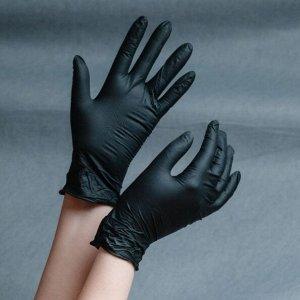 Перчатки нитриловые валли пластик, черный