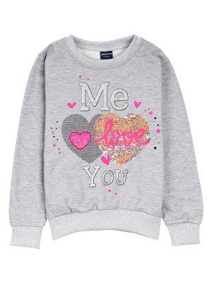 """Толстовка для девочек """"Me love grey"""""""