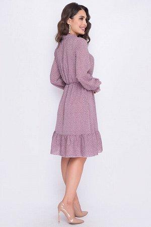 Платье Платье из текстильного полотна отрезное по линии талии с расклешенной юбкой и притачным воланом по низу.Рукав втачной длинный.Горловина лифа на стойке с завязками.По линии талии проложена резин