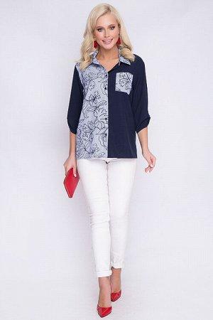 Рубашка Комбинированная рубашка свободного силуэта из текстильного полотна.Центральная застежка на петли и пуговицы до низа.Воротник рубашечного типа на стойке.По спинке кокетка.Рукав втачной на пате