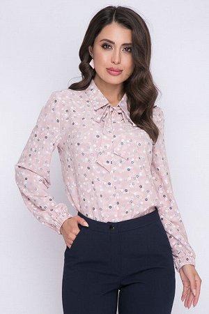 Блузка Блузка из легкоготекстильного полотна прямого силуэта без застежки.Воротник отложной на стойке с втачными завязками.Рукав втачной по низу собран на резину. 30% вискоза 65% п/э,5% эластан