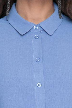 Рубашка Рубашка из текстильного полотна прямого силуэта..Центральная застежка на петли и пуговицы до низа.Воротник рубашечного типа на стойке.По спинке кокетка.Рукав втачной по низу манжет застегивающ