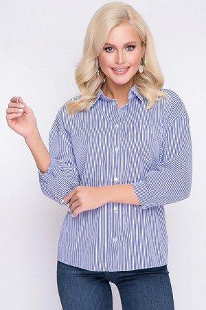 Рубашка Рубашка из текстильного полотна в мелкую полоску.Центральная застежка на петли и пуговицы до низа.Воротник рубашечного типа на стойке. Рукав втачной со спущенным плечом.По полочке накладной ка