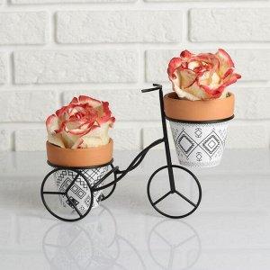 Набор кашпо керамических(9*10см) на подставке Велосипед