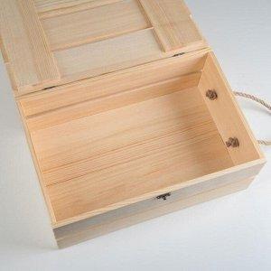 Ящик деревянный 35?23?13 см подарочный с реечной крышкой на петельках с замком