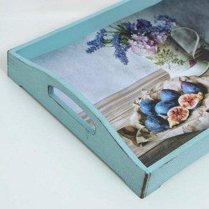 """Поднос деревянный для завтрака """"Прованс. Натюрморт, инжир"""", 43?27.5?7 см, серо-голубой"""