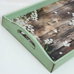"""Поднос деревянный для завтрака """"Прованс. Лепестки яблони"""", 43?27.5?7 см, зелёный"""