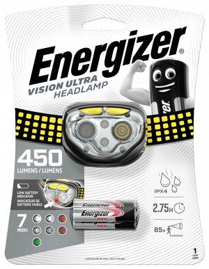 NEW Фонарь налоб. ENERGIZER Eu Vision Ultra 450Hl Tc HDE 321 водонепроницаемый 2ч 400Лм желтый 1/6