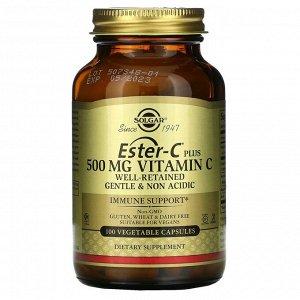 Solgar, Ester-C Plus, витамин C, 500 мг, 100 вегетарианских капсул