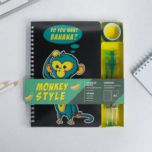 Блокнот со скотчем и ручкой Monkey style