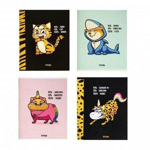 """Тетрадь 96 листов в клетку """"Кигуруми"""", обложка мелованный картон, блок офсет, МИКС"""