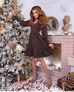Платье коричневое с воланами