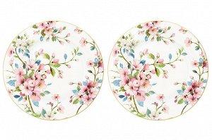 "Набор тарелок 2 пр. 26*26*2 см ""Яблоневый цвет на белом"" NEW BONE CHINA"