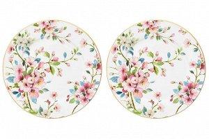 """Набор тарелок для десертов 2 пр. 19*19*2 см """"Яблоневый цвет на белом"""" NEW BONE CHINA"""