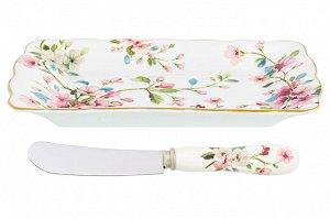 "Тар. п/масло 17*10*2 см ""Яблоневый цвет на белом"" + нож NEW BONE CHINA"