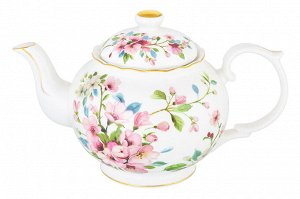 """Чайник 1,1 л 24*14*15 см """"Яблоневый цвет на белом"""" NEW BONE CHINA"""