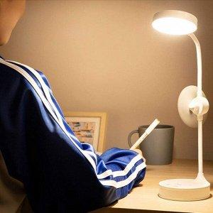 Беспроводная настольная лампа со встроенным вентилятором и зеркалом для макияжа