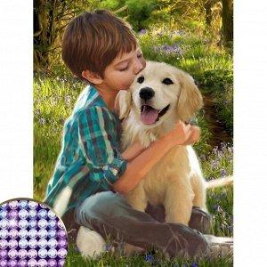 Алмазная вышивка с частичным заполнением «Мальчик с собакой», 30 х 40 см, холст. Набор для творчества