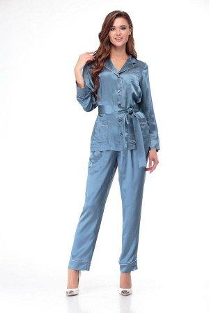 Пижама Пижама ANELLI 870 голубые тона  Состав: Вискоза-20%; ПЭ-76%; Спандекс-4%; Сезон: Осень-Зима Рост: 164  Модные показы 2020 утвердили тренд пижамный стиль в моде продемонстрировало большинство д