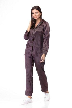 Пижама Пижама ANELLI 870 коричневые тона  Состав: Вискоза-20%; ПЭ-76%; Спандекс-4%; Сезон: Осень-Зима Рост: 164  Модные показы 2020 утвердили тренд пижамный стиль в моде продемонстрировало большинств