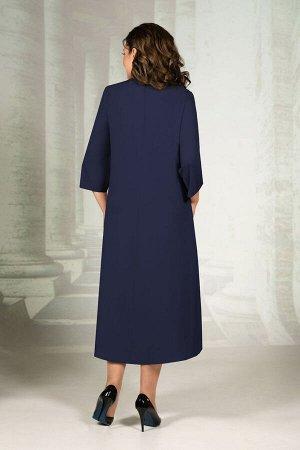 Платье Платье Avanti Erika 1145-1 синий  Состав: Вискоза-72%; ПЭ-25%; Спандекс-3%; Сезон: Осень-Зима Рост: 164  Нарядное платье свободного кроя. Ткань костюмно-плательная, немного тянется, не мнется.