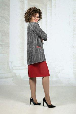 Костюм Костюм Avanti Erika 1163 серый/черный/красный  Состав: Платье: Вискоза-72%; ПЭ-25%; Спандекс-3%; Джемпер: Вискоза-85%; ПЭ-11%; Эластан-4%; Сезон: Осень-Зима Рост: 164  Комплект двойка: платье+
